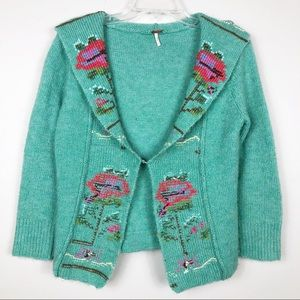 Free People M Wool Embroidered Cardigan